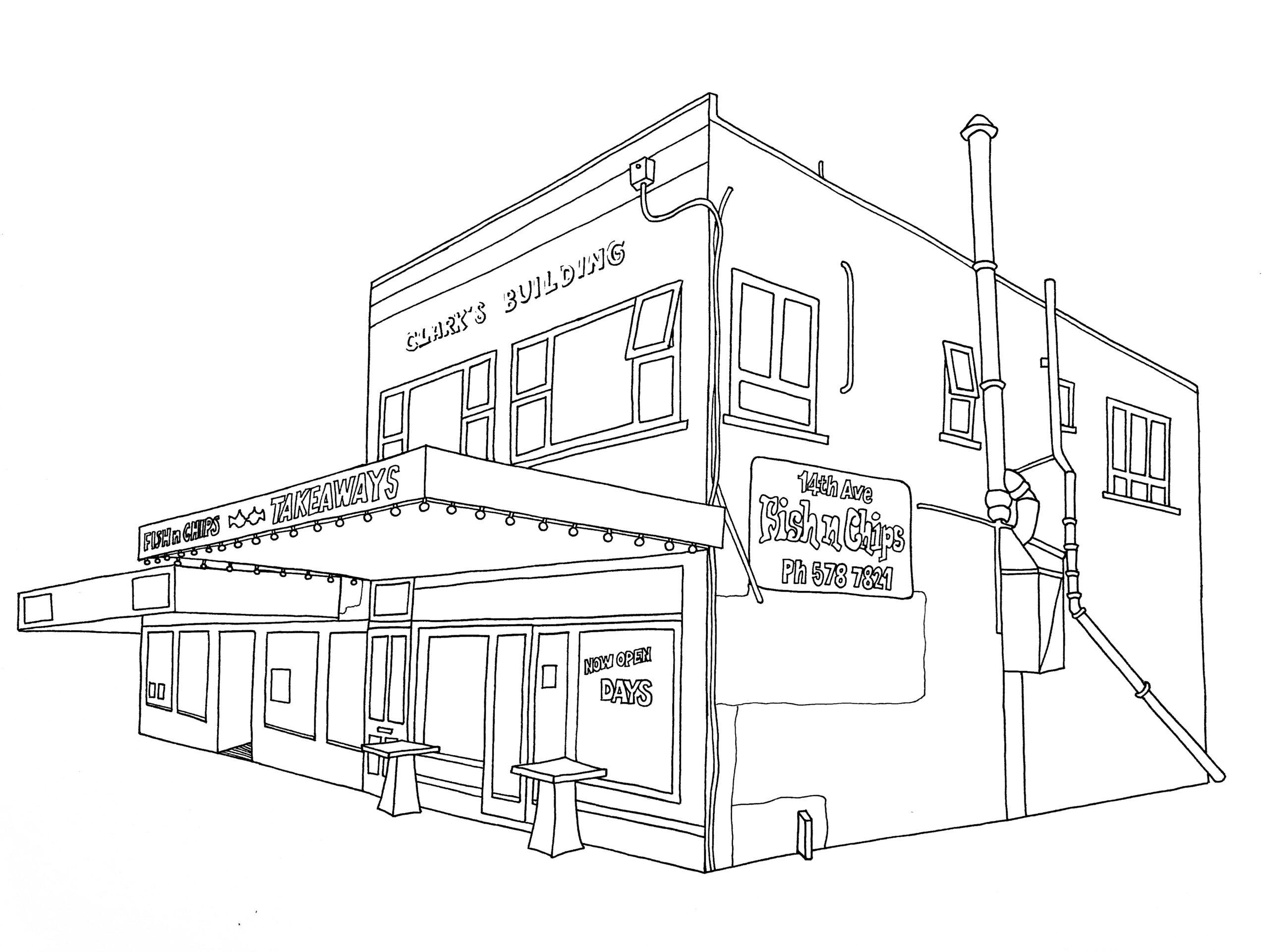 '14 Ave Fish & Chips' Kalou Koefoed, Illustration $390