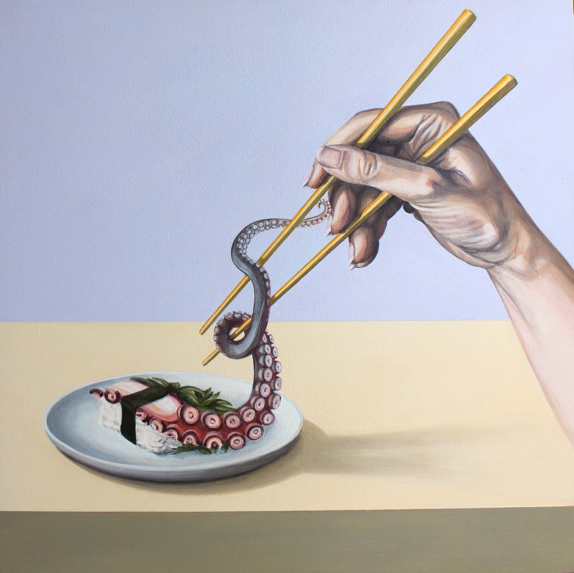 'Contact' Isabelle Mathys Acrylic on board $550 (305x305mm)