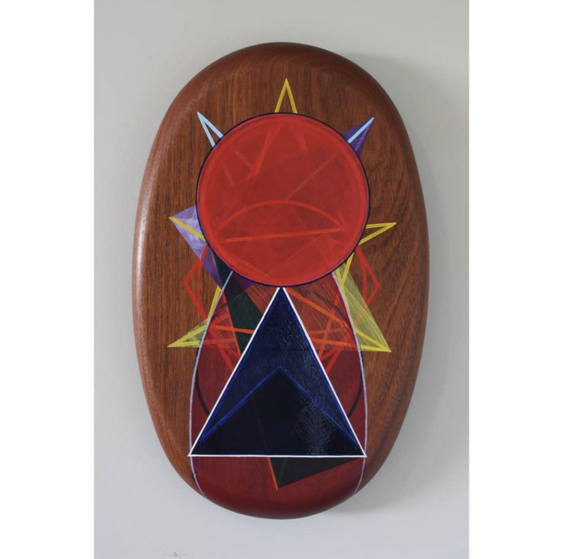 'AO#2' Duane Moyle, Oil and gold leaf on timber serve ware $440 (350x218mm)