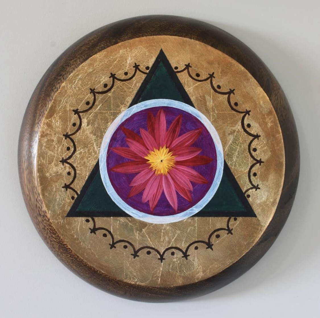 'AO#3' Duane Moyle, Oil and gold leaf on timber serve ware $440 (252mm diameter)