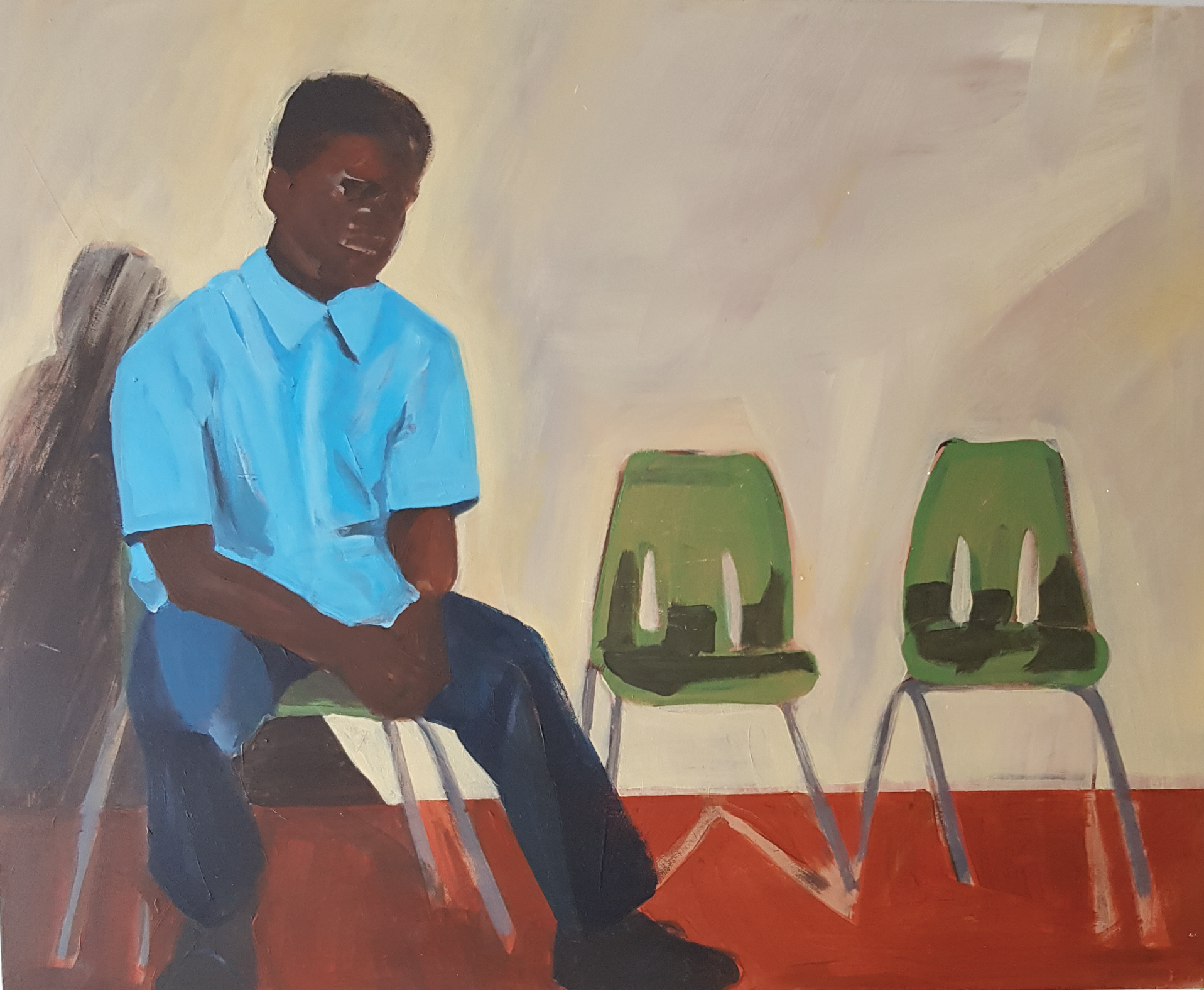 'Boy and two chairs' Emma Bossley $690 (500x400mm)